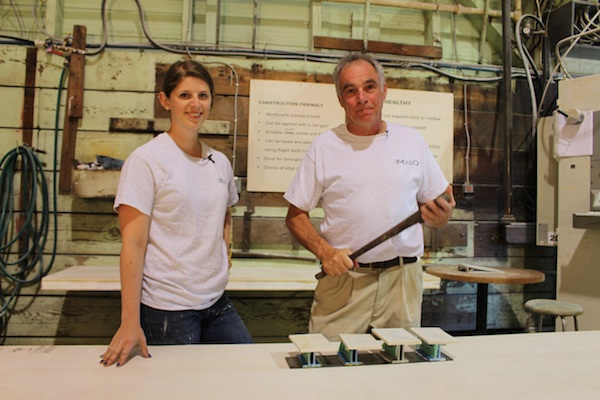 MagO-Building-Products-Peter-Francis-and-Samantha-Sasso-testing-different-wall-board-adhesives-600px